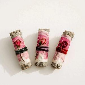 Blue Sage + Rose Smudge Stick